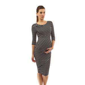 Mama Striped Elbow Sleeve Maternity Dress